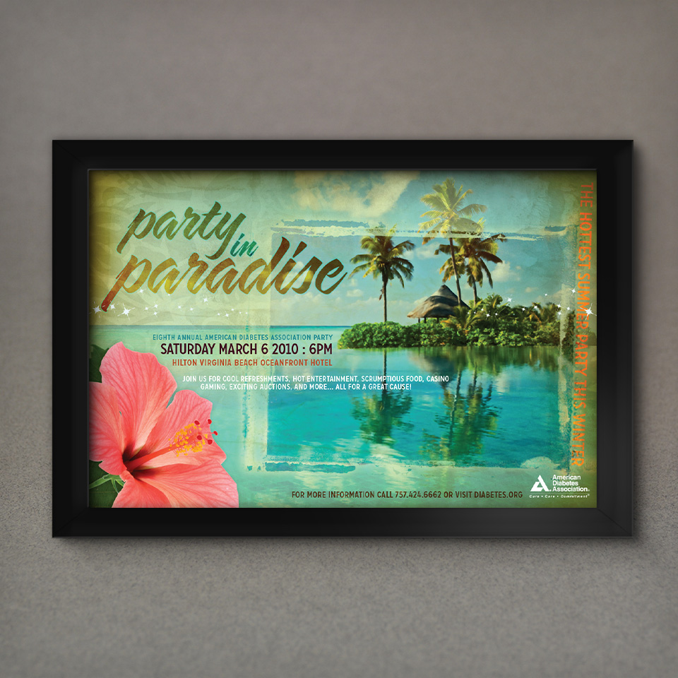 American Diabetes Association Party in Paradise fundraiser poster design by Red Chalk Studios