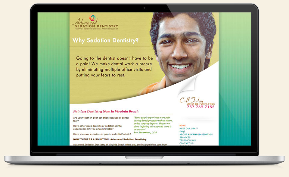 Advanced Sedation Dentistry corporate identity, website design & development by Red Chalk Studios