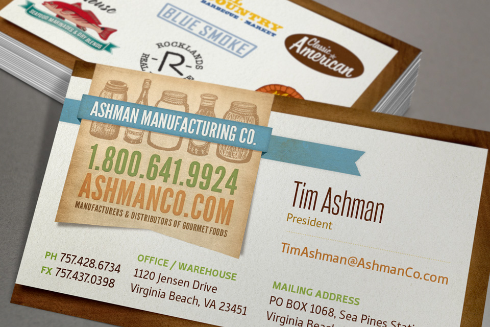 Ashman Manufacturing business card design by Red Chalk Studios