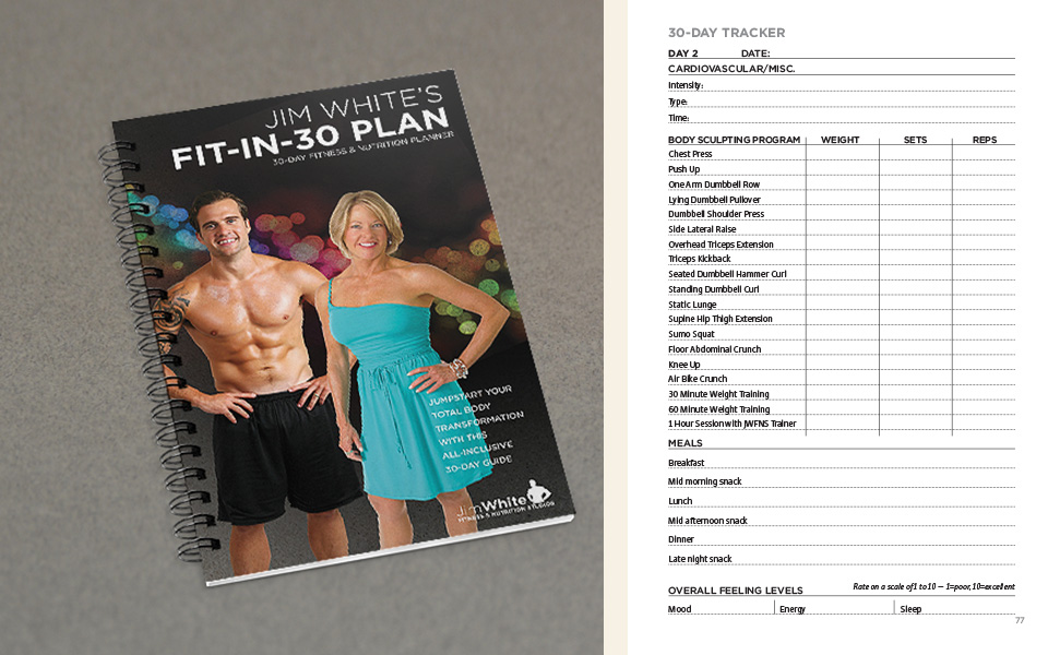 Jim White Fitness & Nutrition Studios book design by Red Chalk Studios