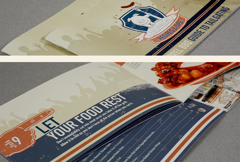 Pork Barrel BBQ Sauce tailgating recipe book design by Red Chalk Studios