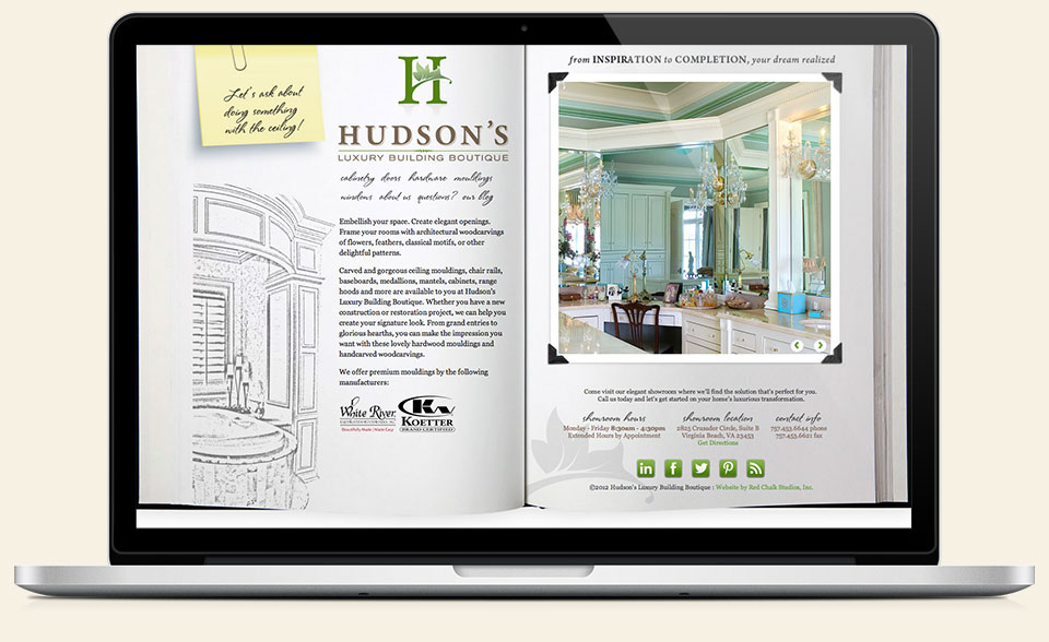 Hudson's Luxury Building Boutique branding, logo design, website design & development by Red Chalk Studios