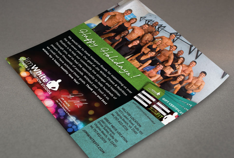 Jim White Fitness & Nutrition Studios brochure design by Red Chalk Studios