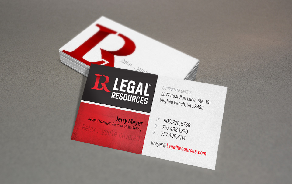 Legal Resources branding, logo & business card design by Red Chalk Studios