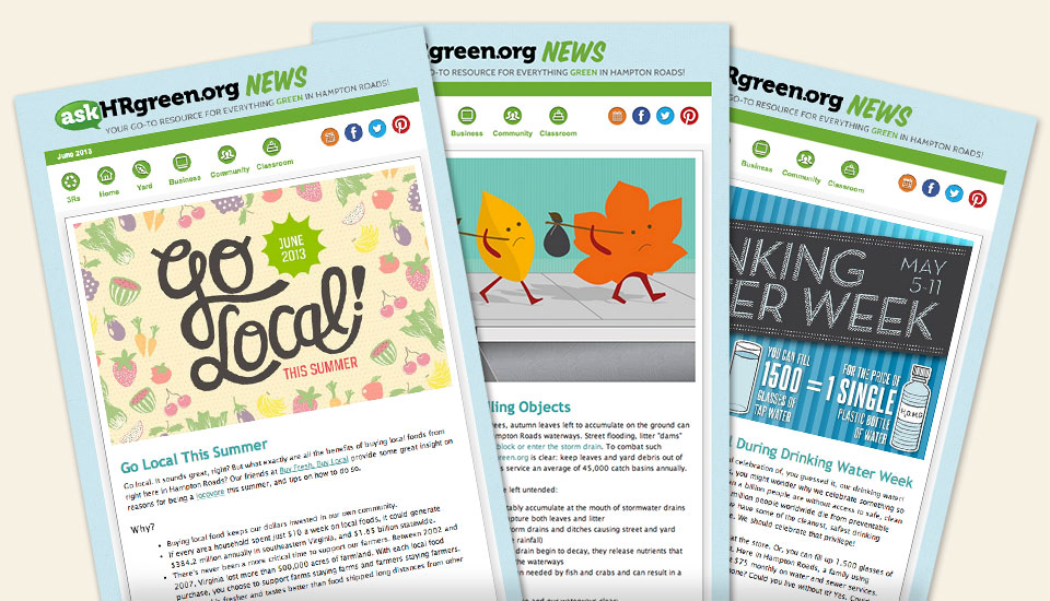 askHRgreen.org email marketing campaign & template design by Red Chalk Studios