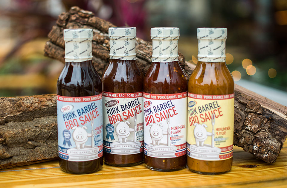 Pork Barrel BBQ Sauce label design by Red Chalk Studios