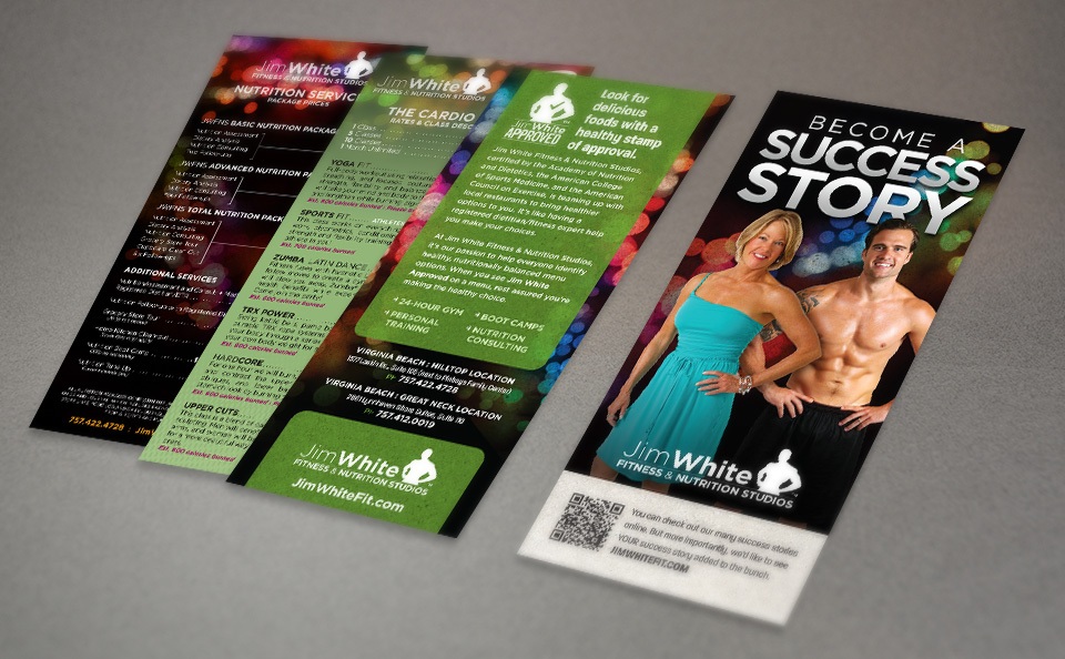 Jim White Fitness & Nutrition Studios rack card design by Red Chalk Studios