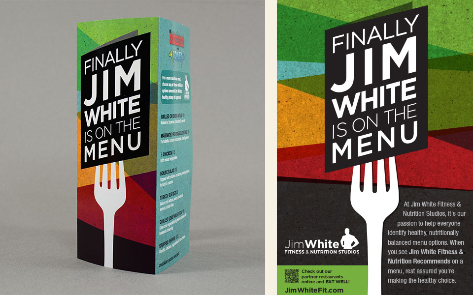 Jim White Fitness & Nutrition Studios restaurant menu design by Red Chalk Studios