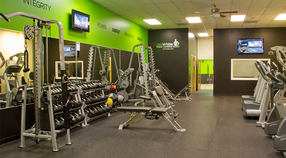 Jim White Fitness & Nutrition Studios interior branding by Red Chalk Studios