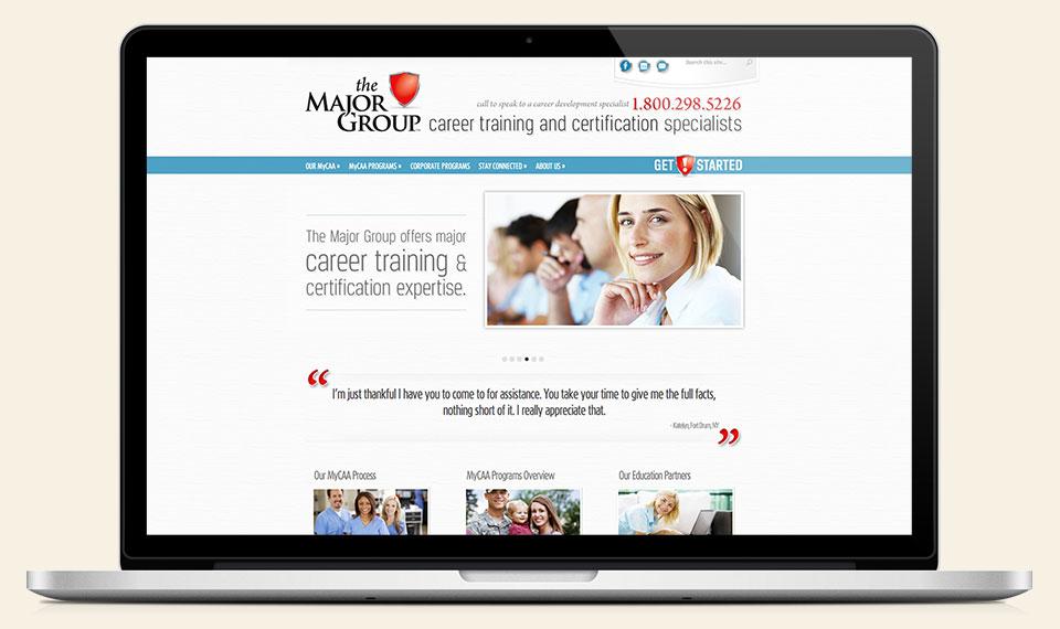 The Major Group branding, logo design, website design & development by Red Chalk Studios