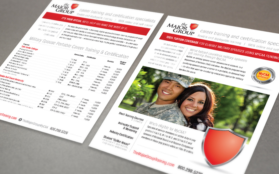 The Major Group branding & sales sheet design by Red Chalk Studios