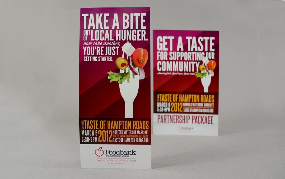 Foodbank fundraiser Taste of Hampton Roads branding & brochure design by Red Chalk Studios
