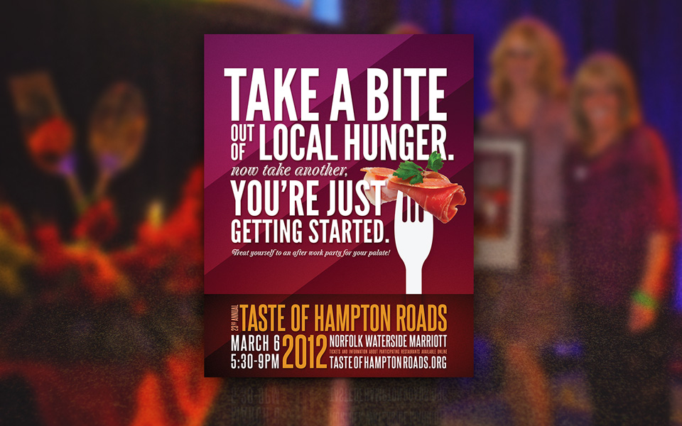 Foodbank fundraiser Taste of Hampton Roads branding & poster design by Red Chalk Studios
