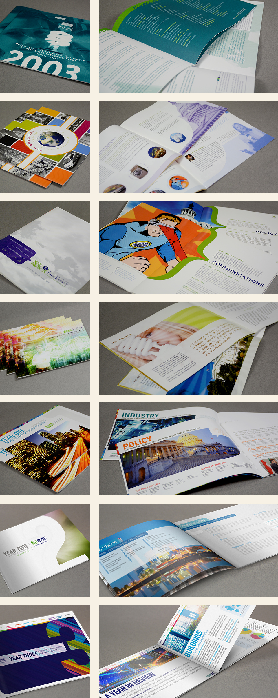 Alliance to Save Energy branding & annual report design by Red Chalk Studios