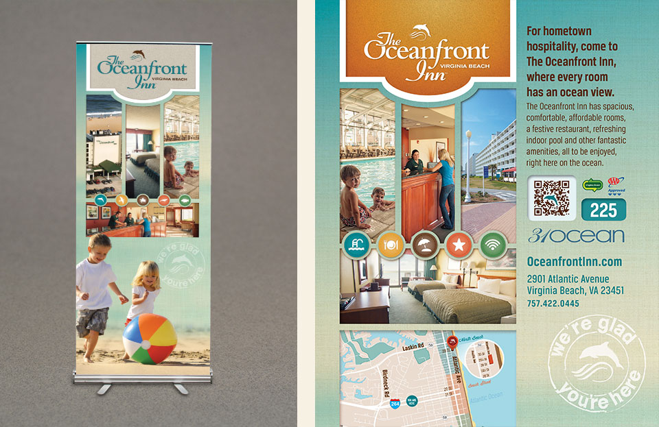 Oceanfront Inn display banner design by Red Chalk Studios