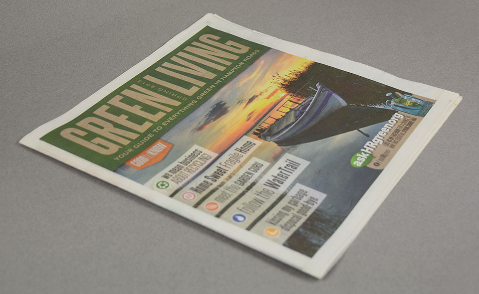 askHRgreen.org Green Living newspaper supplement design by Red Chalk Studios