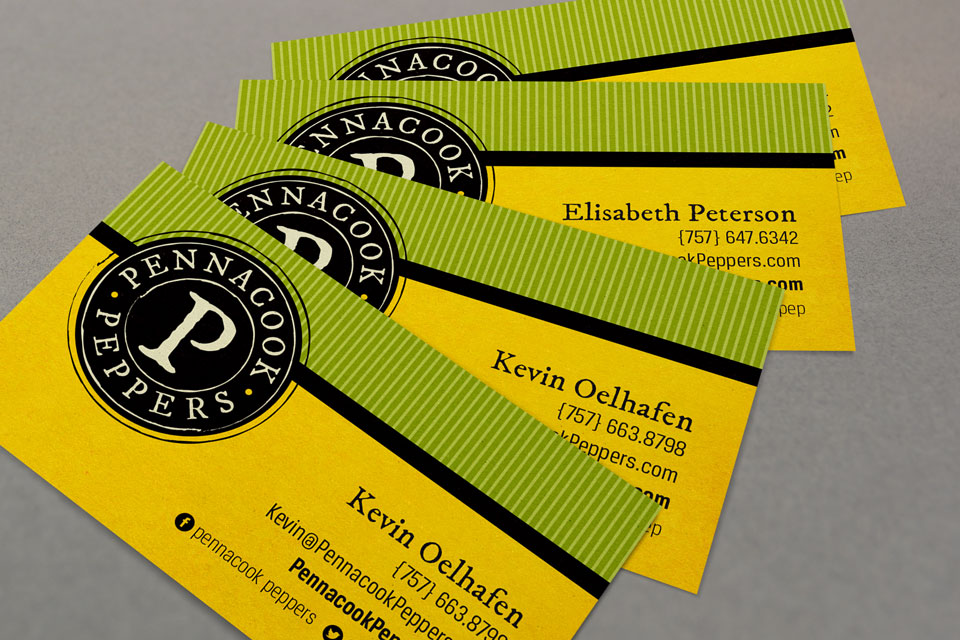 Pennacook Peppers logo, branding & business card design by Red Chalk Studios