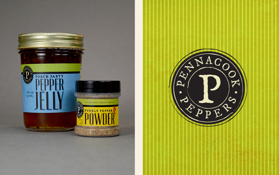 Pennacook Peppers logo, branding & label design by Red Chalk Studios