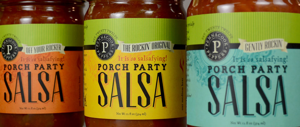 Pennacook Peppers Porch Party Salsa branding & label design by Red Chalk Studios