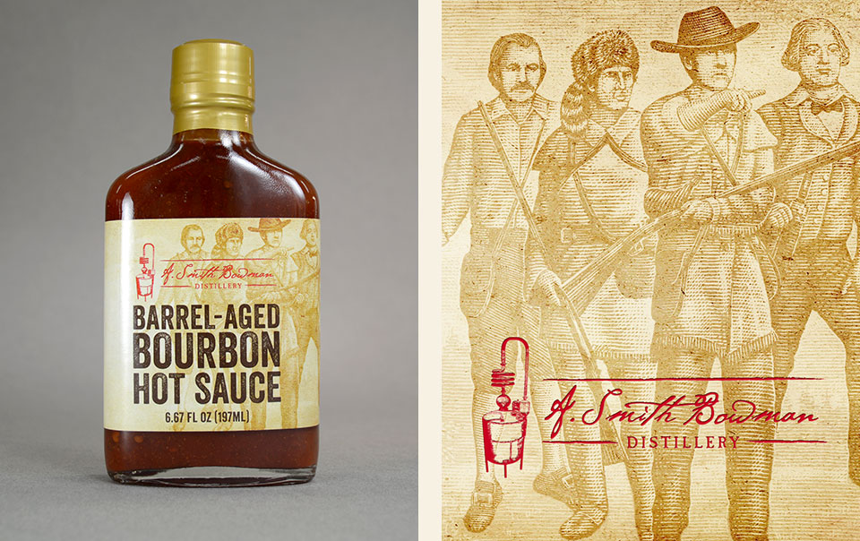 A. Smith Bowman Barrel-Aged Bourbon Hot Sauce label design by Red Chalk Studios