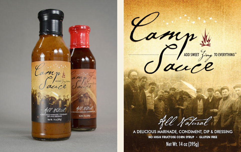 Camp Sauce branding & label design by Red Chalk Studios