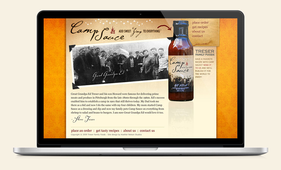 Camp Sauce branding, label design, website design & development by Red Chalk Studios