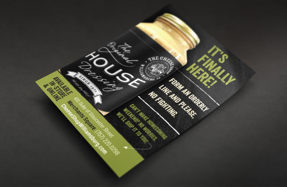 The Cheese Shop of Williamsburg - The Original House Dressing label & flyer design by Red Chalk Studios