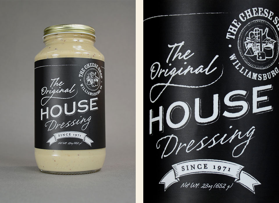 The Cheese Shop of Williamsburg - The Original House Dressing label design by Red Chalk Studios