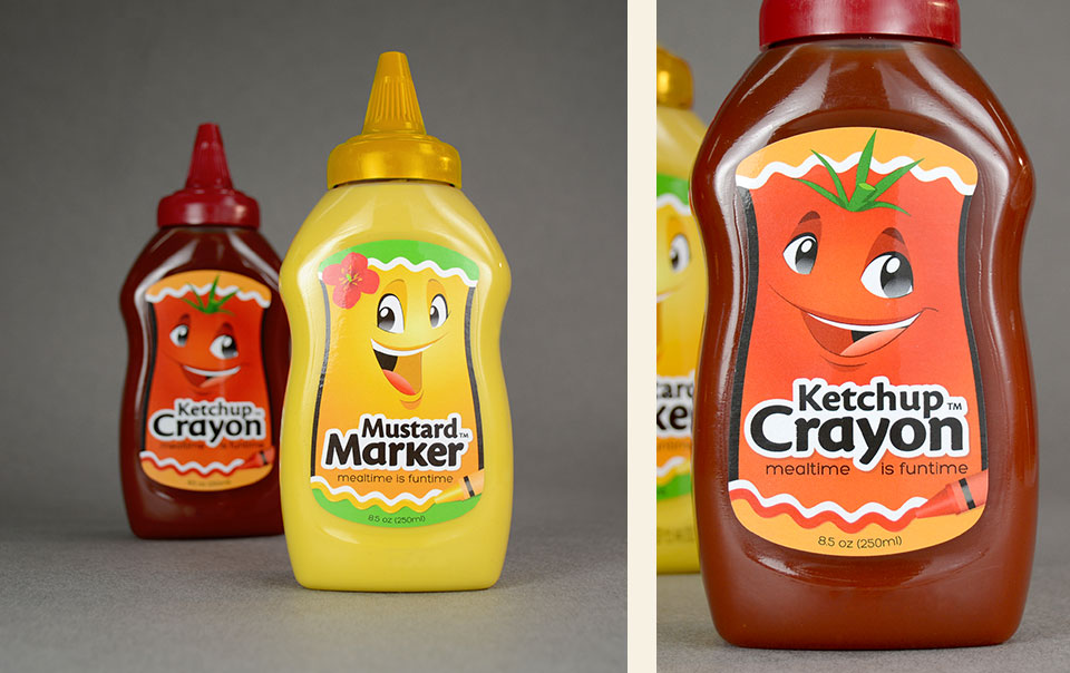 Ketchup Crayon and Mustard Marker logo & label design by Red Chalk Studios