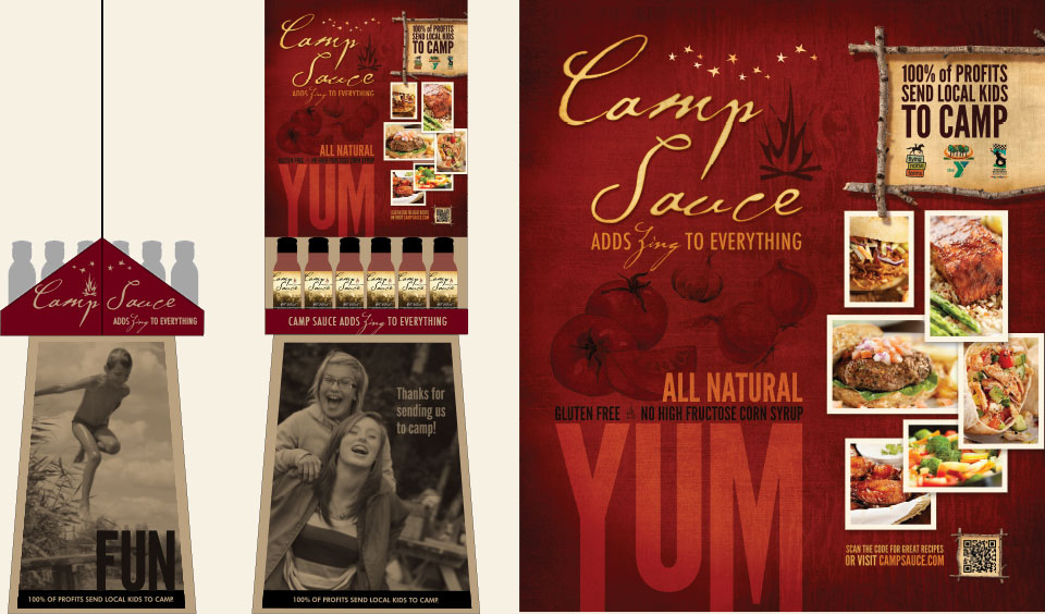 Camp Sauce branding, pop-up display & brochure design by Red Chalk Studios