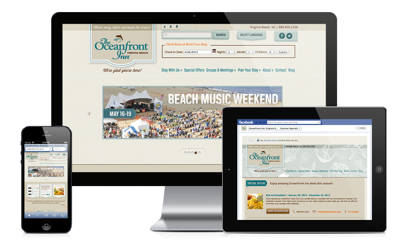 Oceanfront Inn mobile friendly website design & development | Facebook app design & development by Red Chalk Studios