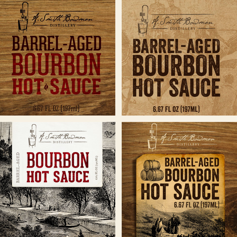 A. Smith Bowman Barrel-Aged Bourbon Hot Sauce label design concepts by Red Chalk Studios