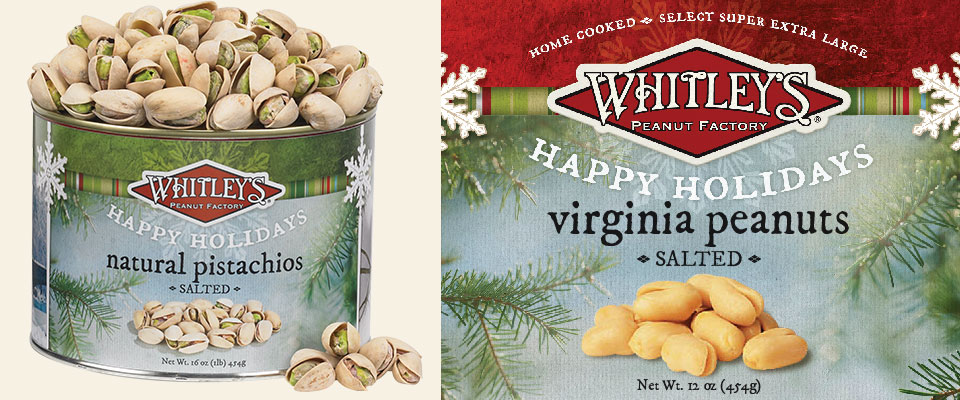 Whitley's Peanuts holiday label design by Red Chalk Studios