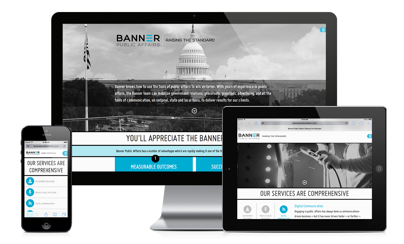 Banner Public Affairs responsive website design & development by Red Chalk Studios
