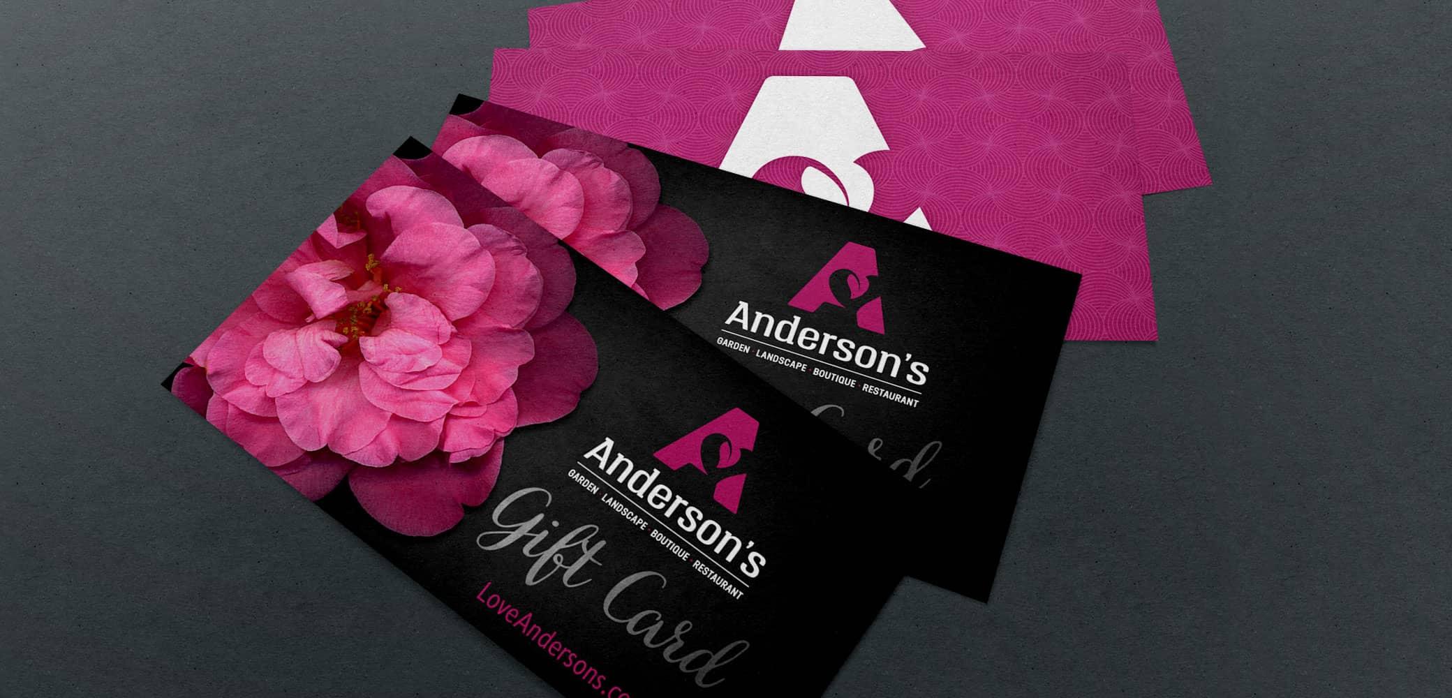 Red Chalk Studio business card design for Andersons's Garden Center
