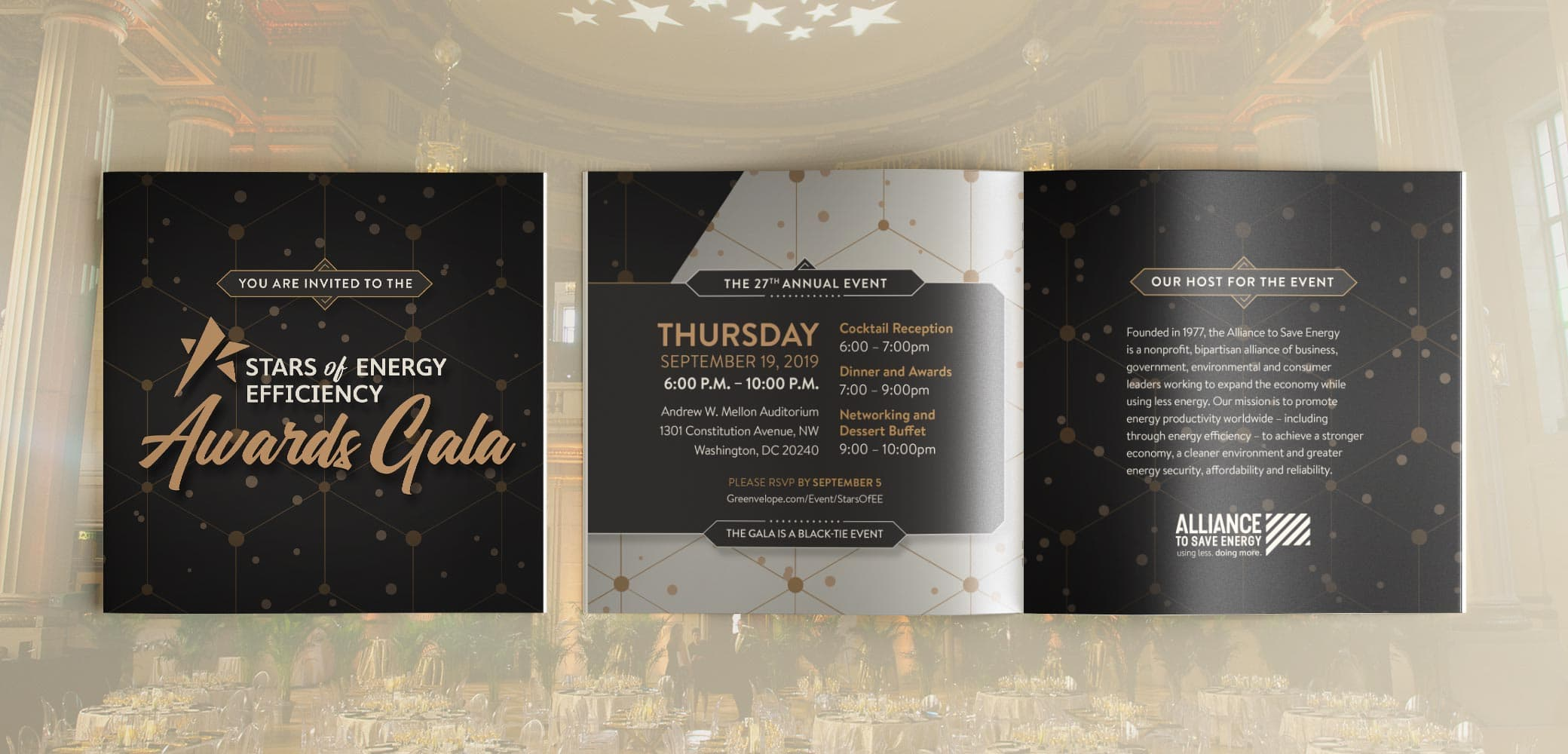 Alliance to Save Energy's Stars of Energy Efficiency Gala Invite design by Red Chalk Studios
