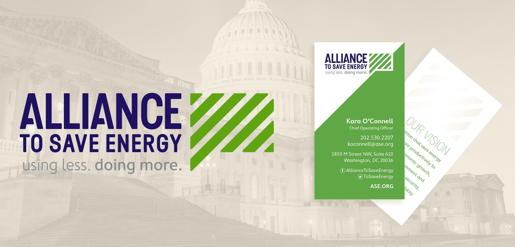 Alliance to Save Energy's logo + business card design by Red Chalk Studios