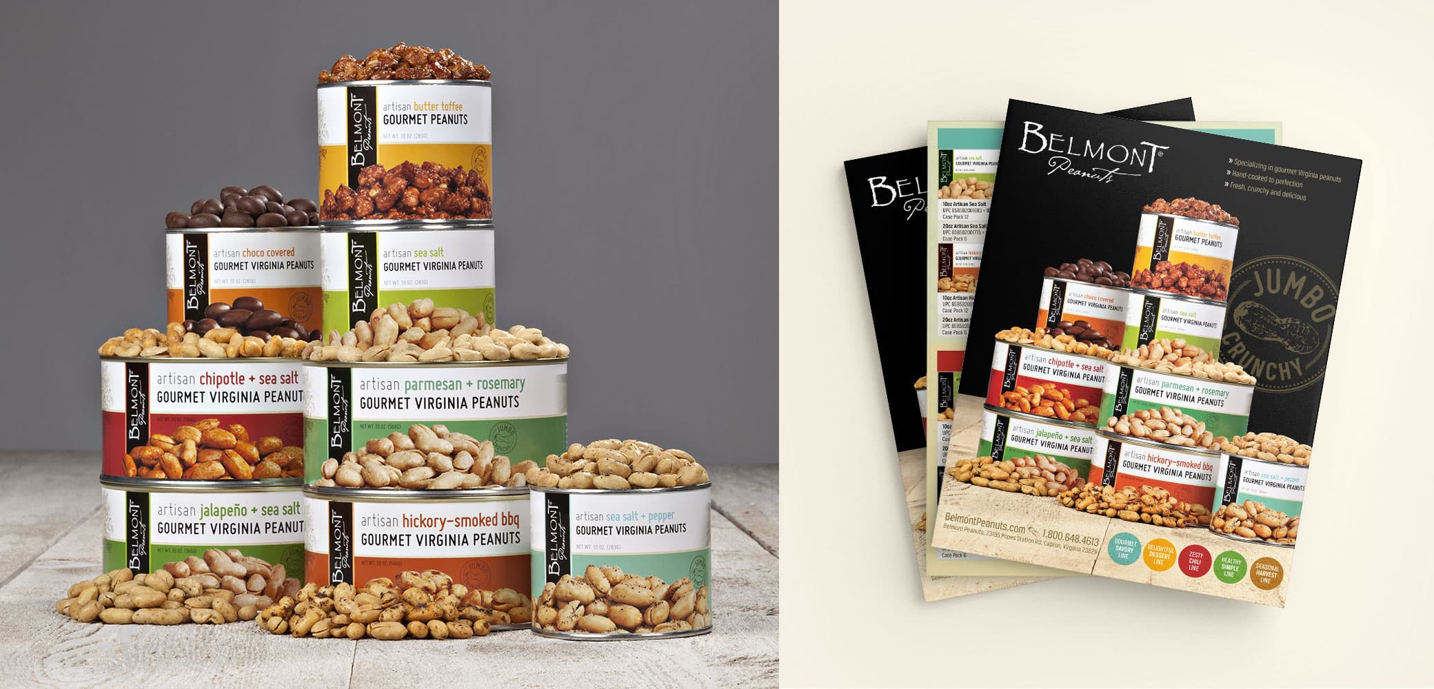 Belmont Peanuts label designs by Red Chalk Studios