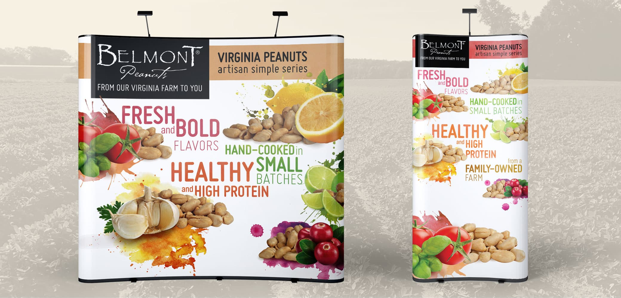 Belmont Peanuts trade show booth designs by Red Chalk Studios