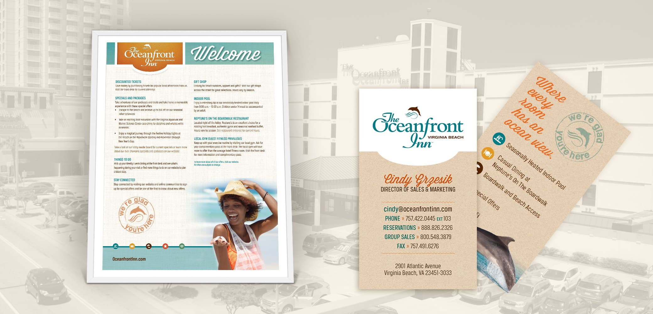 Oceanfront Inn Business Card and Lobby Poster Design by Red Chalk Studios