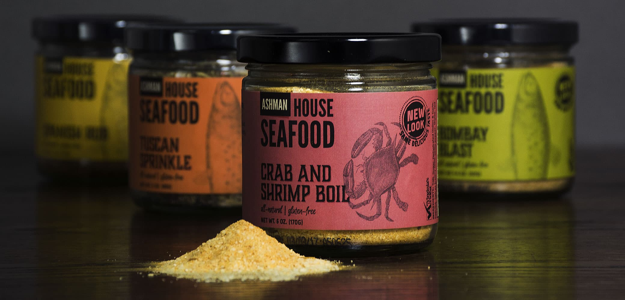 Ashman Manufacturing House Seafood Rubs Label Design by Red Chalk Studios