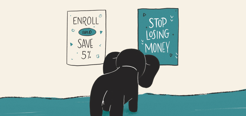 Red Chalk Studios Elephant choosing to Stop Losing Money Illustration