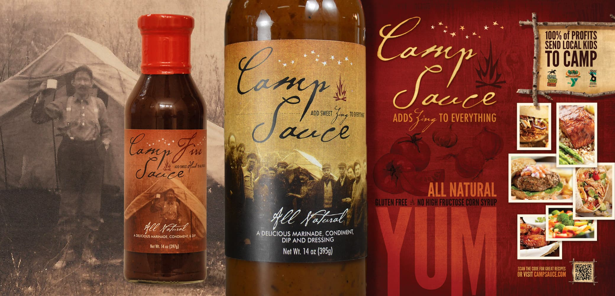 Camp Sauce label design by Red Chalk Studios