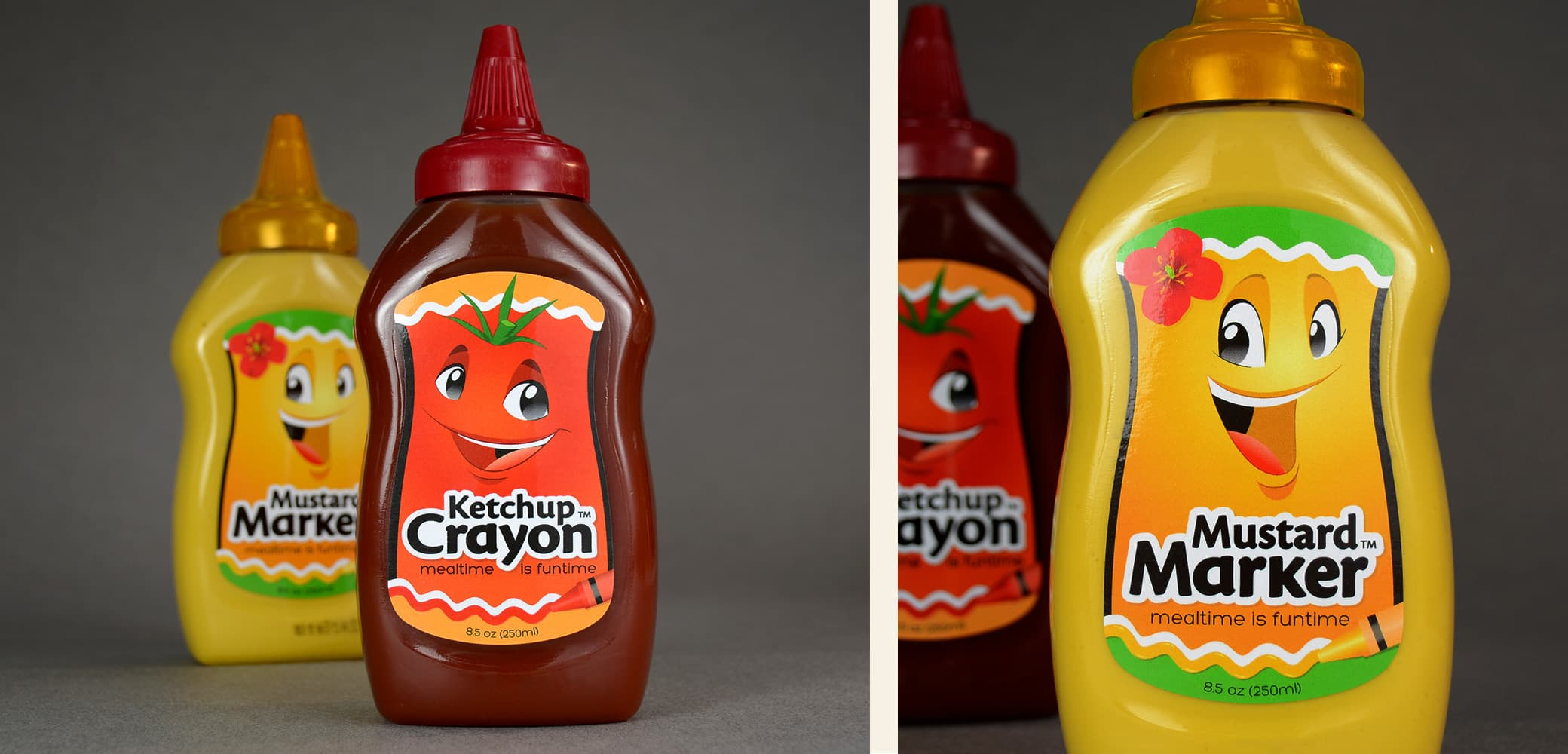Ketchup Crayon and Mustard Marker label design by Red Chalk Studios