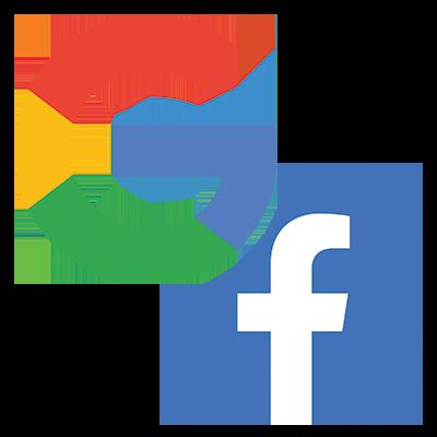 Google + Facebook Logo