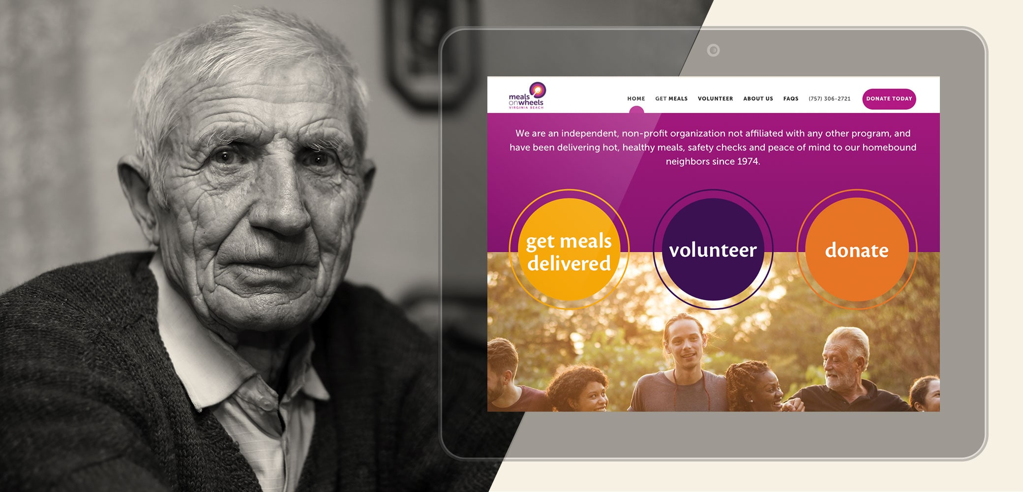 Meals on Wheels of Virginia Beach website design by Red Chalk Studios
