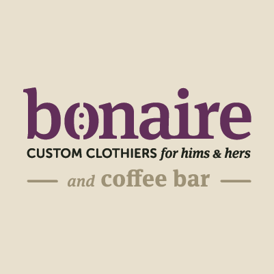 Bonaire Custom Clothiers & Coffee Bar name and logo design by Red Chalk Studios