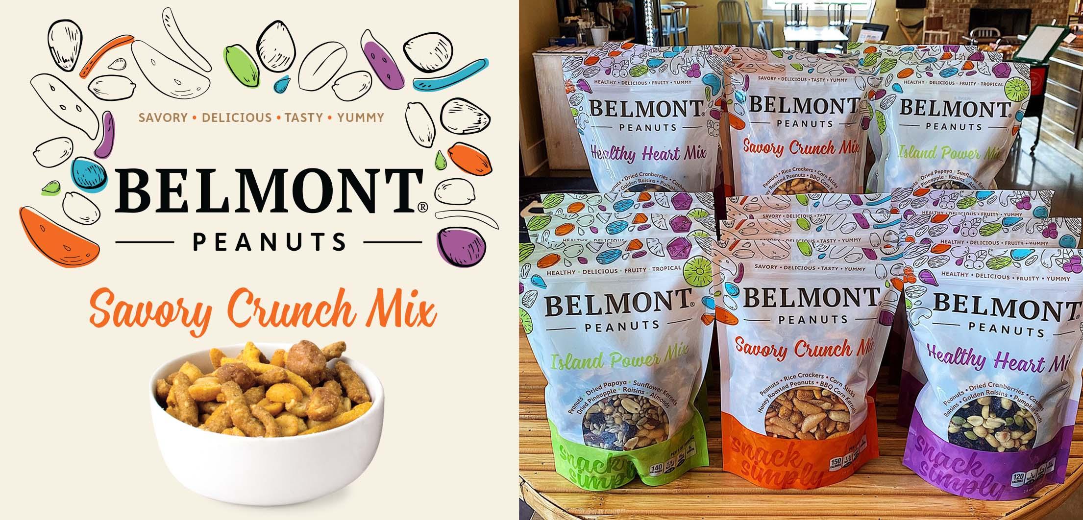 Belmont Peanuts mix bag label design by Red Chalk Studios