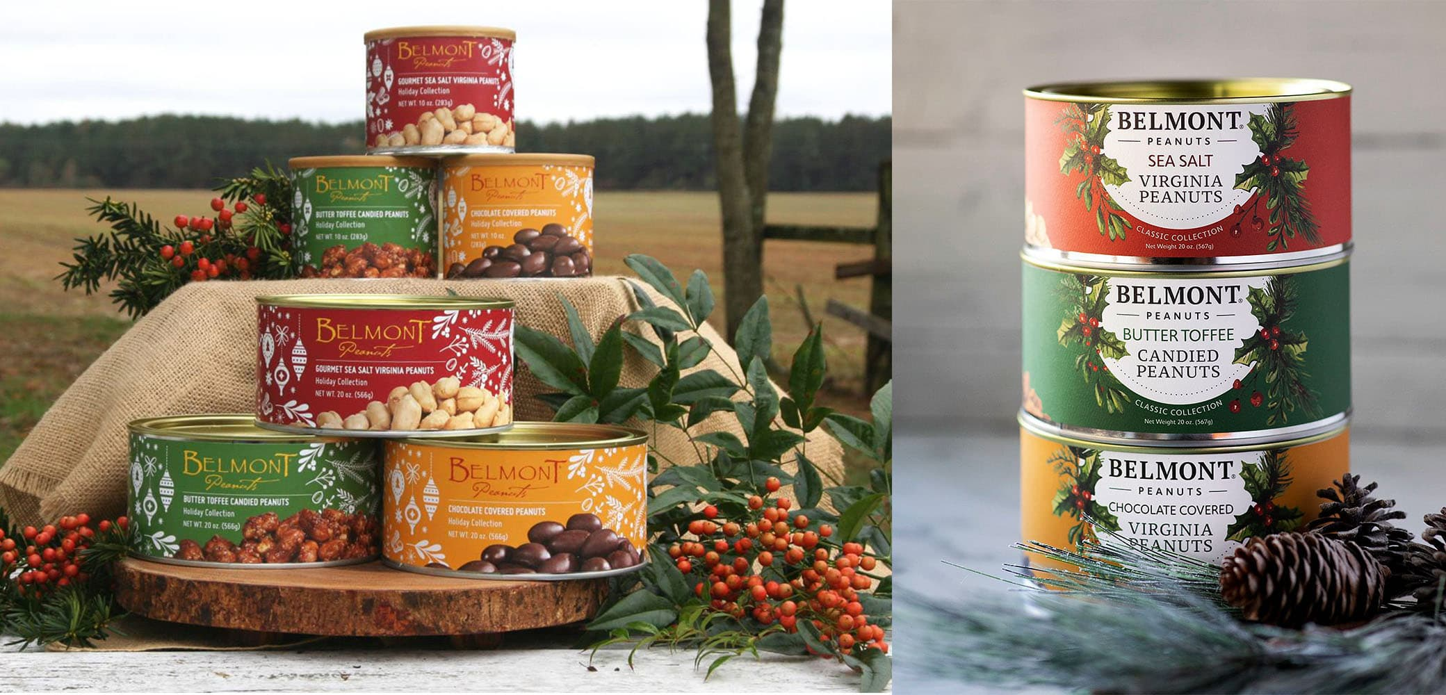 Belmont Peanuts holiday label design by Red Chalk Studios
