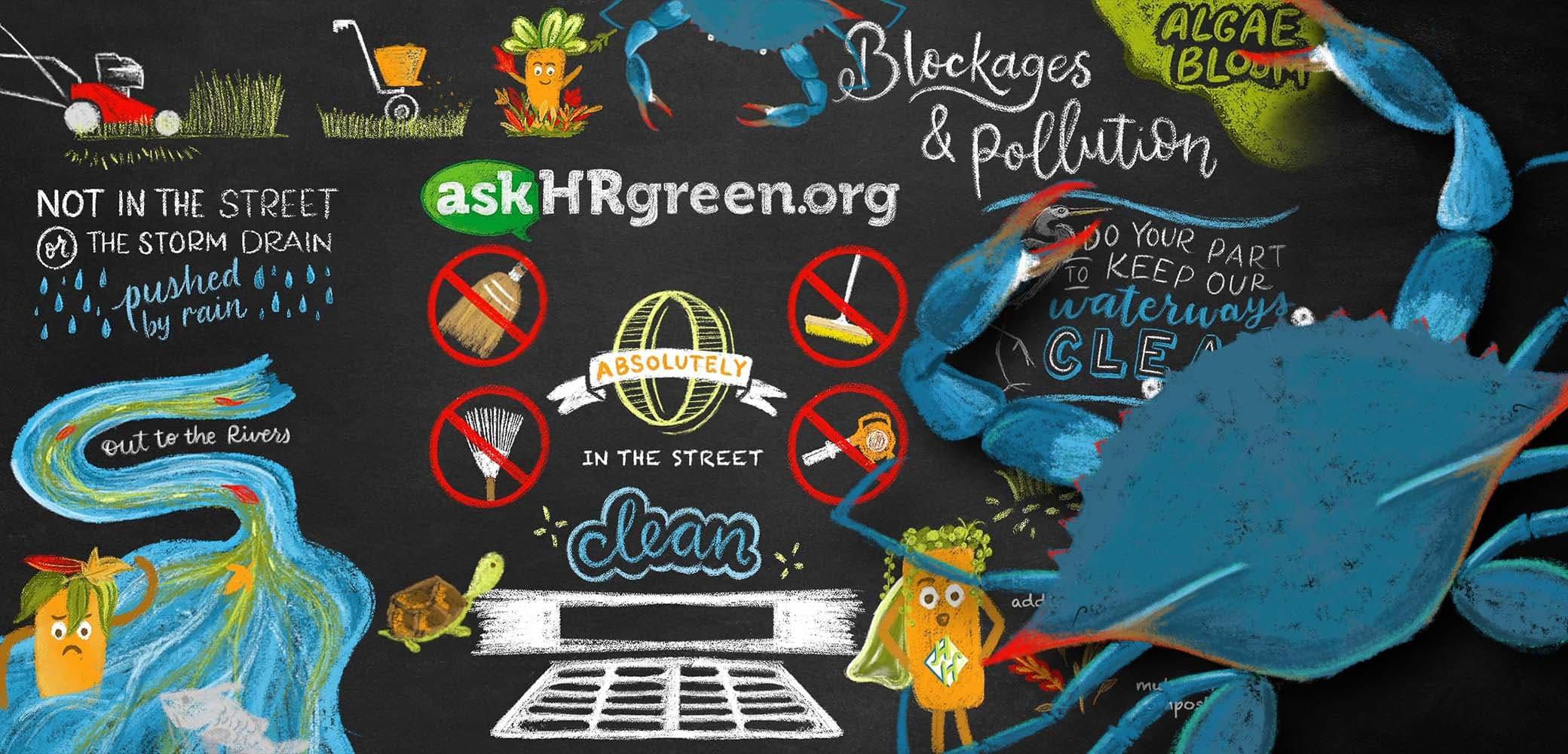 Custom illustration for environmental client askHRgreen.org, by Red Chalk Studios
